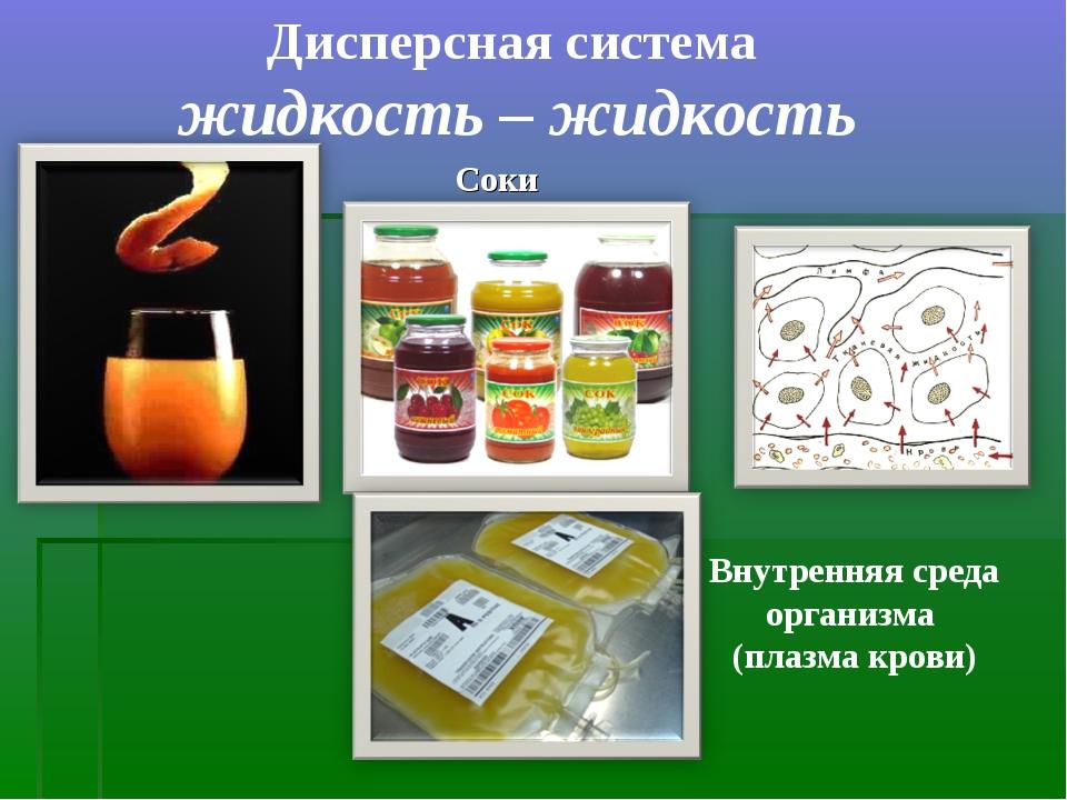 Дисперсная система жидкость – жидкость Соки Внутренняя среда организма (плазм...
