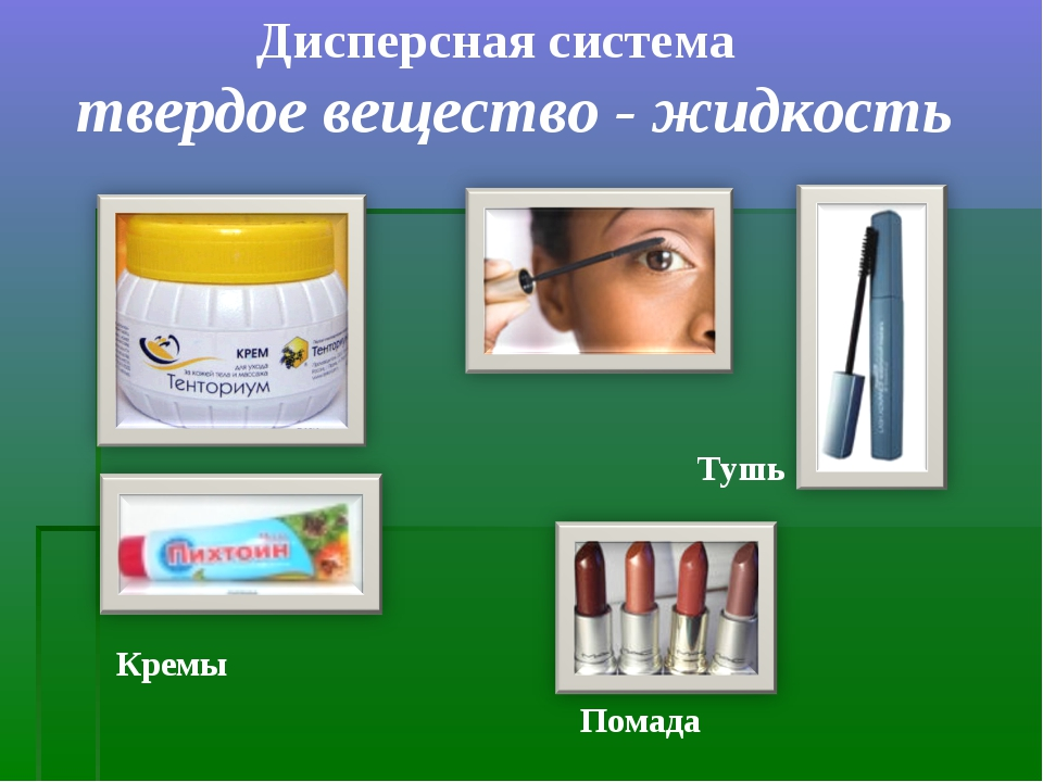 Дисперсная система твердое вещество - жидкость Тушь Помада Кремы