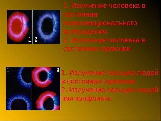1. Излучение пальцев людей в состоянии гармонии. 2. Излучение пальцев людей п...