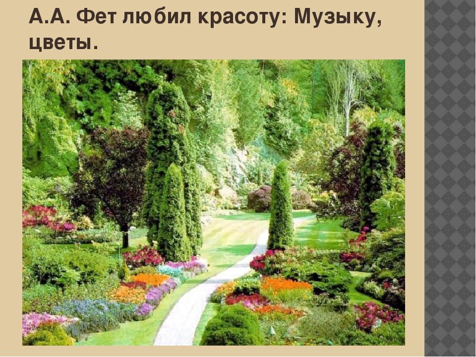 А.А. Фет любил красоту: Музыку, цветы.