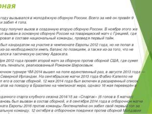 Сборная В 2009 году вызывался в молодёжную сборную России. Всего за неё он пр