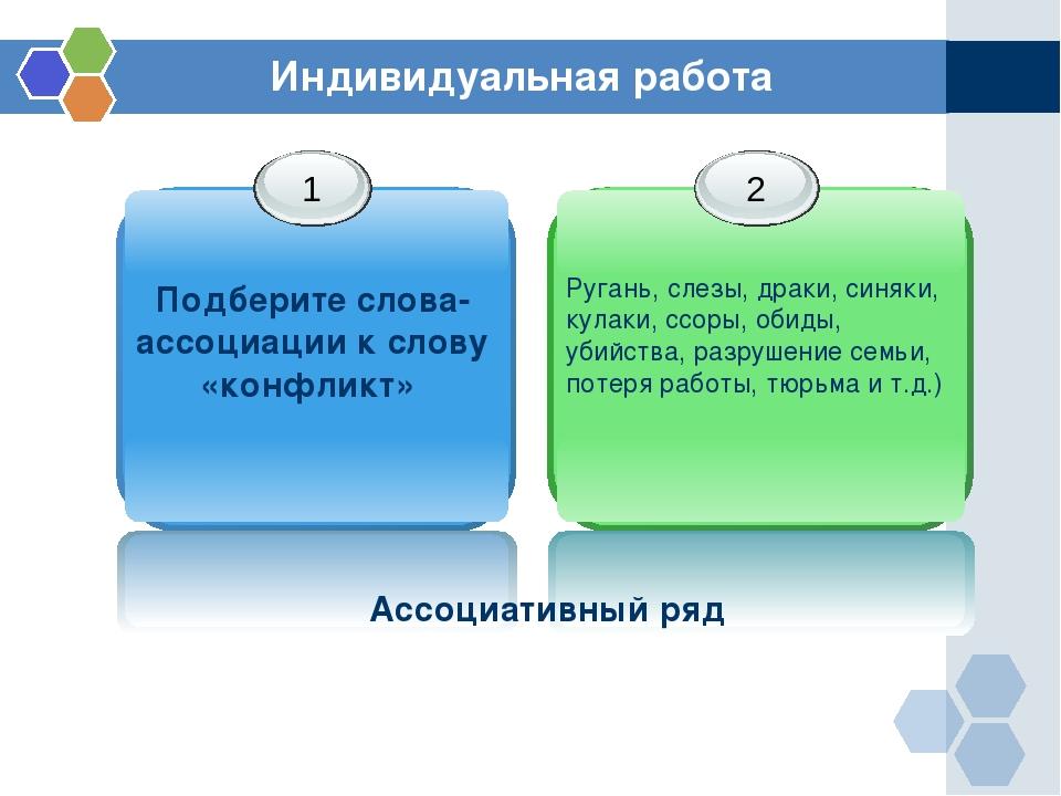 Индивидуальная работа Подберите слова-ассоциации к слову «конфликт» Ассоциати...