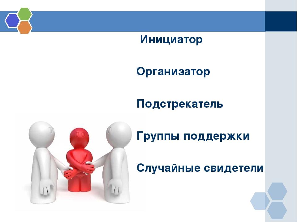 Инициатор Организатор Подстрекатель Группы поддержки Случайные свидетели