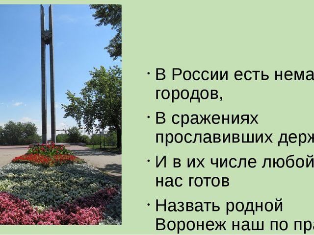 В России есть немало городов, В сражениях прославивших державу, И в их числе...