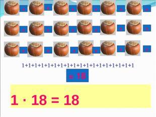 1 · 18 = 18 1+1+1+1+1+1+1+1+1+1+1+1+1+1+1+1+1+1 + + + + + + + + + + + + + + +