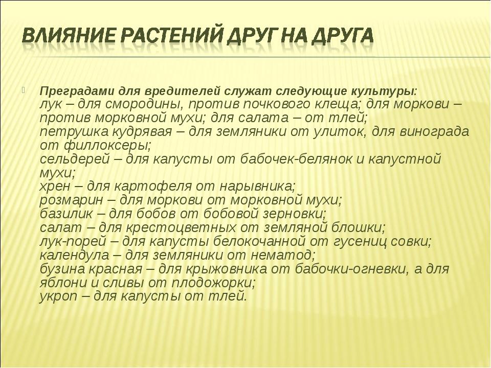 Преградами для вредителей служат следующие культуры: лук – для смородины, про...