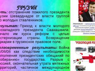 ГРУЗИЯ Суть:отстранение пожилого президента Грузии Шеварднадзе от власти гру