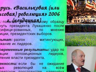 Беларусь. «Васильковая (или джинсовая) революция» 2006 г. (неудачная) Суть:п