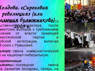 Молдова. «Сиреневая революция» (или «революция булыжников») 2009 г. Суть:мас