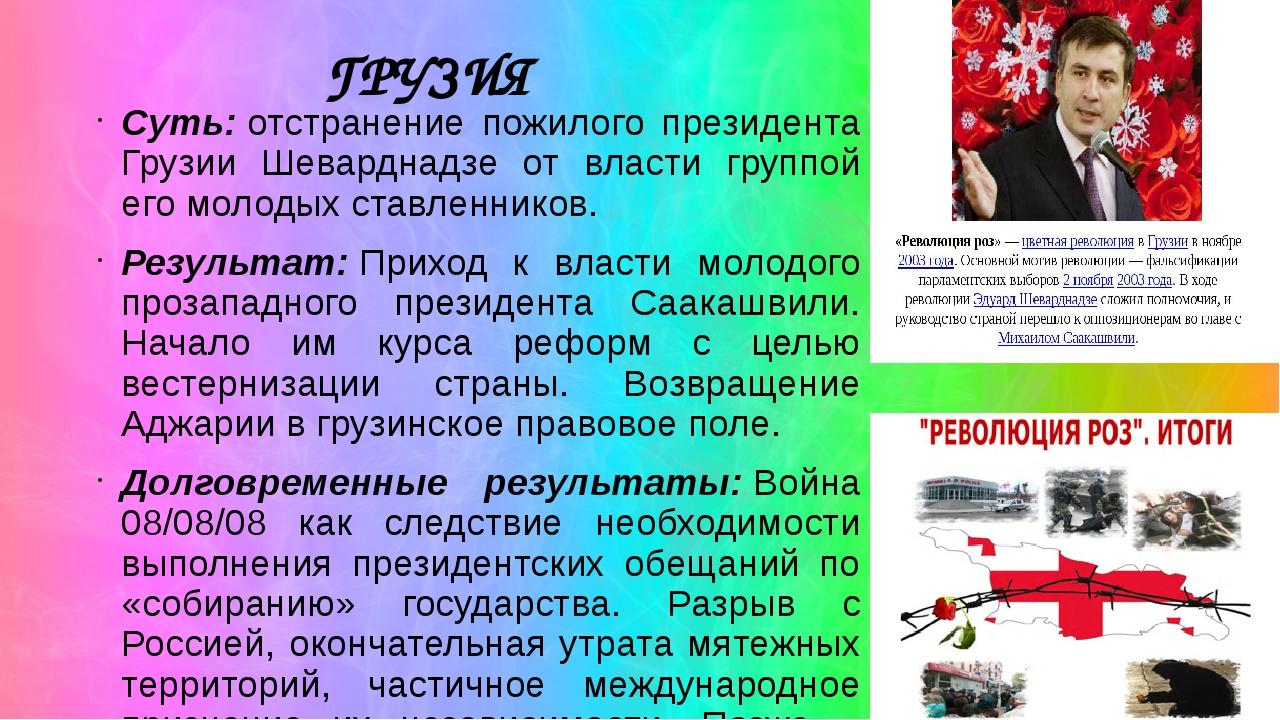 ГРУЗИЯ Суть:отстранение пожилого президента Грузии Шеварднадзе от власти гру...