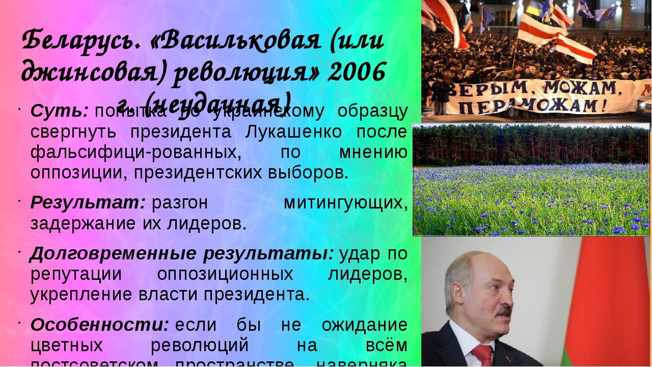 Беларусь. «Васильковая (или джинсовая) революция» 2006 г. (неудачная) Суть:п...