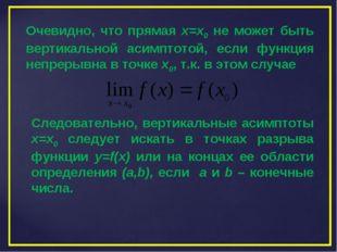 Очевидно, что прямая х=х0 не может быть вертикальной асимптотой, если функция