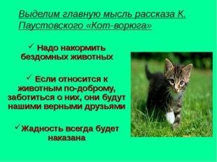 Выделим главную мысль рассказа К. Паустовского «Кот-ворюга» Надо накормить бе
