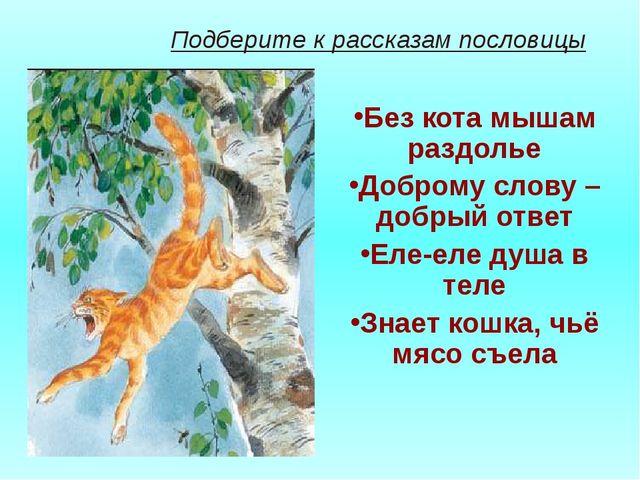Подберите к рассказам пословицы Без кота мышам раздолье Доброму слову – добр...