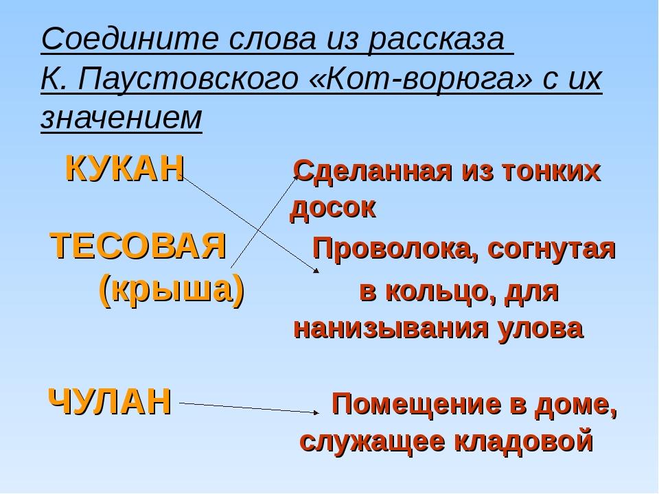 Соедините слова из рассказа К. Паустовского «Кот-ворюга» с их значением КУКАН...