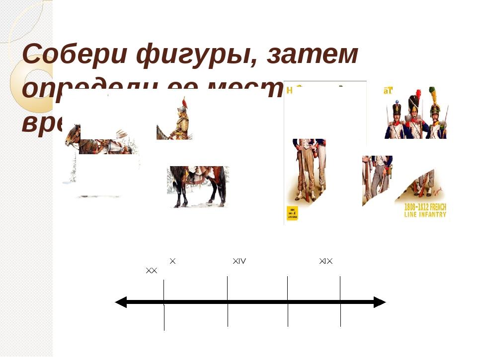 Собери фигуры, затем определи ее место на ленте времени. X XIV XIX XX