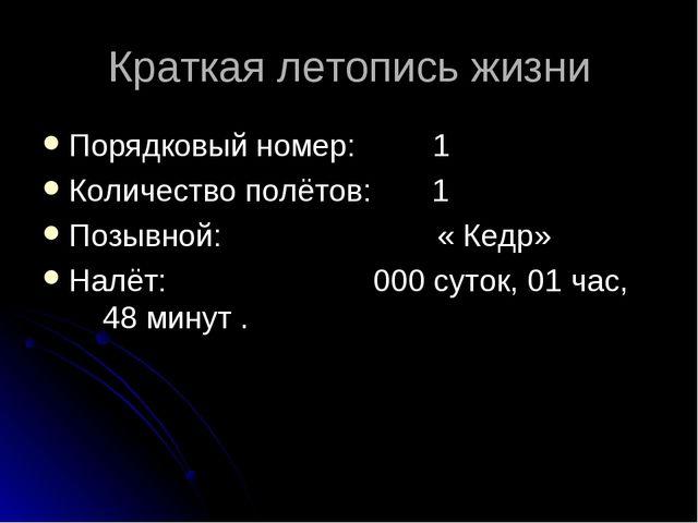 Краткая летопись жизни Порядковый номер: 1 Количество полётов: 1 Позывной: «...