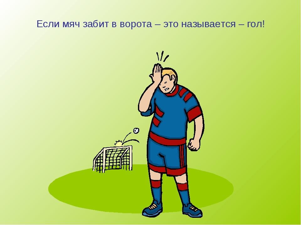 Если мяч забит в ворота – это называется – гол!