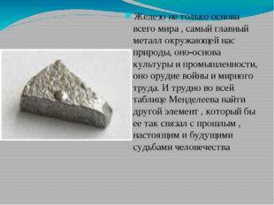 Железо не только основа всего мира , самый главный металл окружающей нас прир