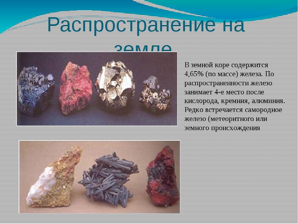 Распространение на земле В земной коре содержится 4,65% (по массе) железа. По...