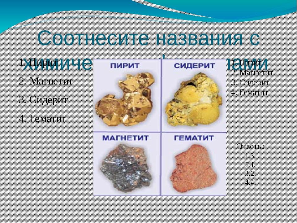 Соотнесите названия с химическими формулами 1. Пирит 2. Магнетит 3. Сидерит 4...