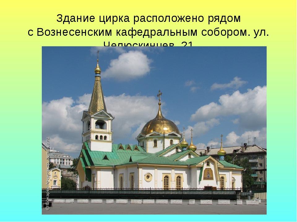 Здание цирка расположено рядом с Вознесенским кафедральным собором. ул. Челюс...