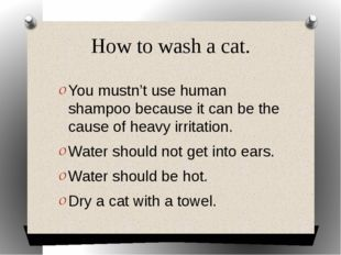 How to wash a cat. You mustn't use human shampoo because it can be the cause