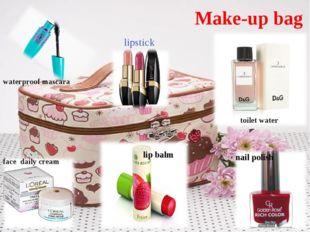 Make-up bag lipstick face daily cream waterproof mascara toilet water nail po