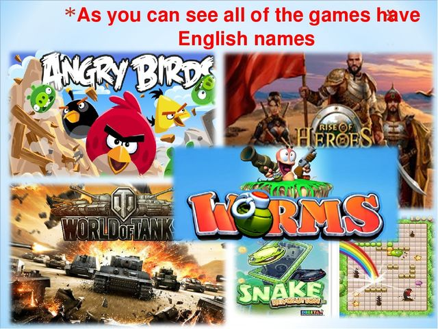 As you can see all of the games have English names