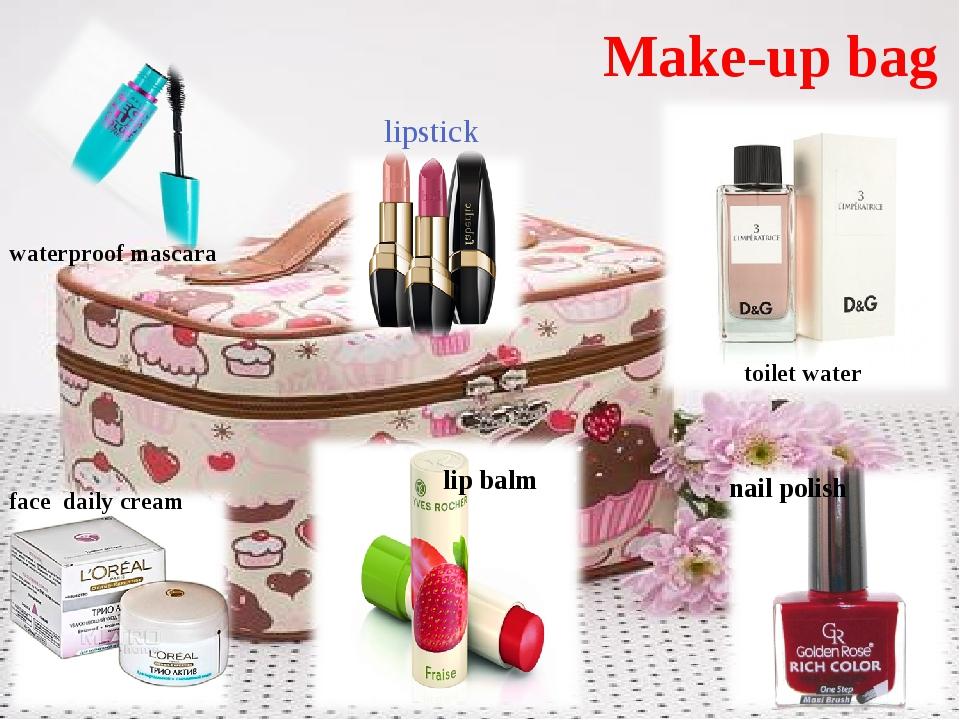 Make-up bag lipstick face daily cream waterproof mascara toilet water nail po...