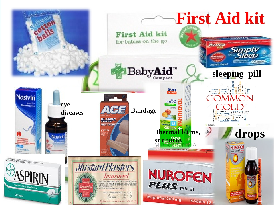 First Aid kit Bandage eye diseases drops thermal burns, sunburns sleeping pill