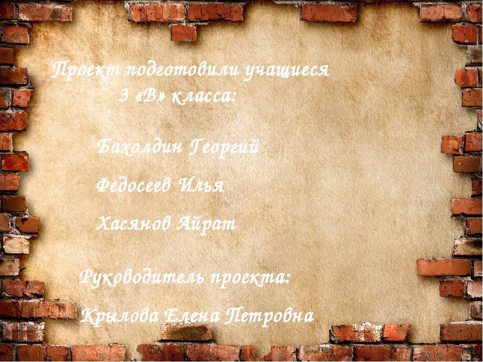 Проект подготовили учащиеся 3 «В» класса: Бахолдин Георгий Федосеев Илья Хас...