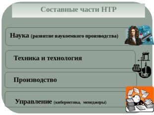 Составные части НТР Наука (развитие наукоемкого производства) Техника и техно