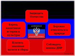 Соблюдать законы ДНР Платить законные налоги и сборы Бережно относиться к при
