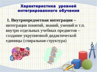 1. Внутрипредметная интеграция – интеграция понятий, знаний, умений и т.п. в