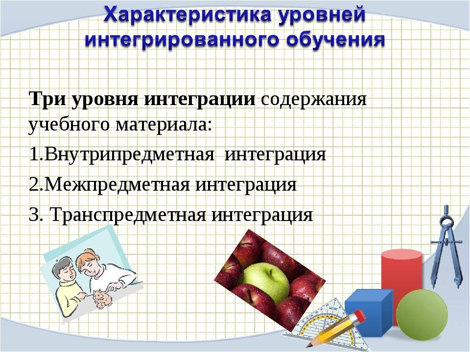 Три уровня интеграции содержания учебного материала: Внутрипредметная интегра...
