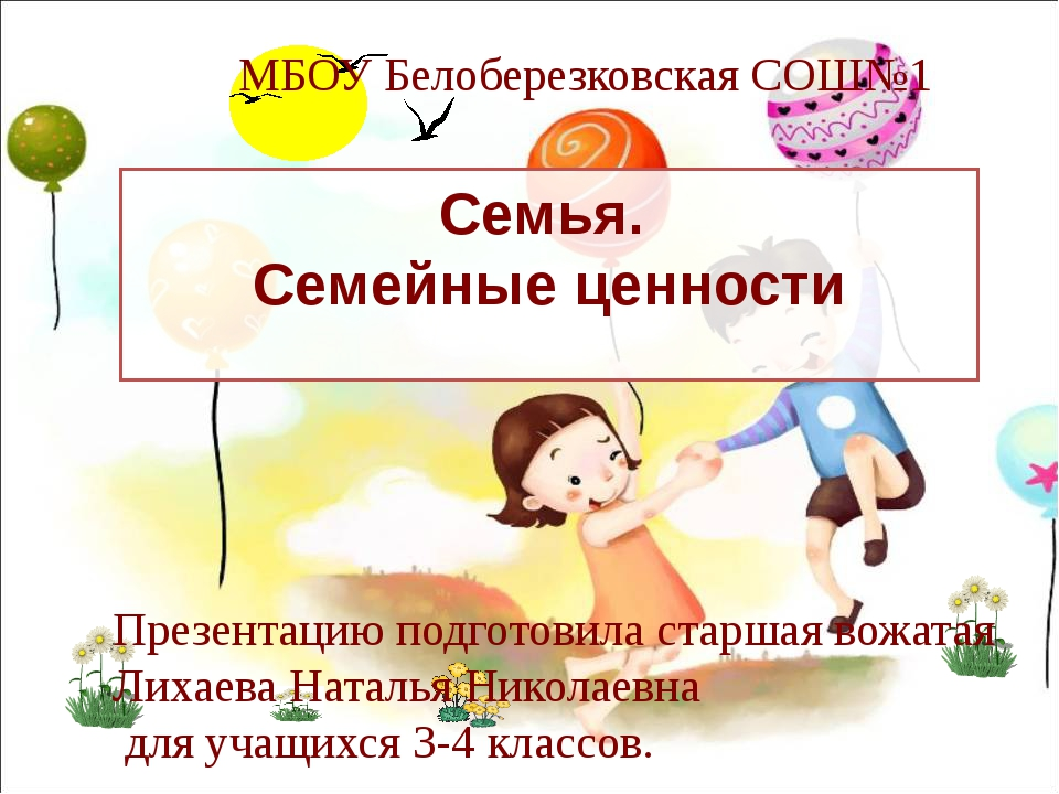 Семья. Семейные ценности МБОУ Белоберезковская СОШ№1 Презентацию подготовила...