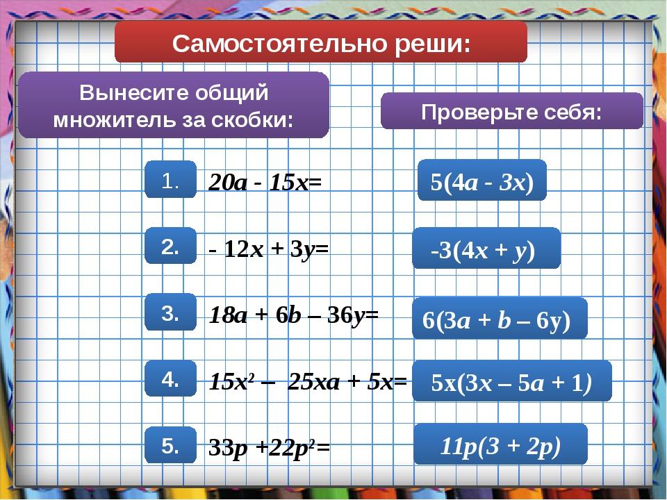 Самостоятельно реши: Вынесите общий множитель за скобки: Проверьте себя: 5(4a...