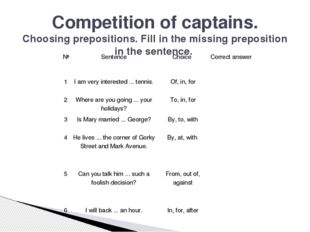 Competition of captains. Choosing prepositions. Fill in the missing preposi