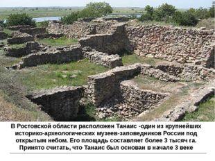 В Ростовской области расположен Танаис-один из крупнейших историко-археологи