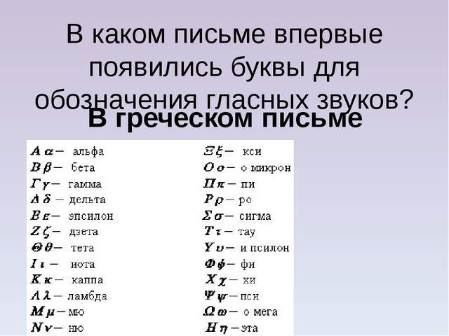 В каком письме впервые появились буквы для обозначения гласных звуков? В греч...