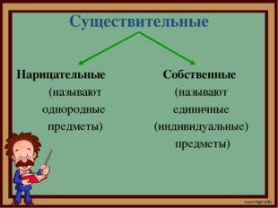 Существительные Нарицательные (называют однородные предметы) Собственные (наз