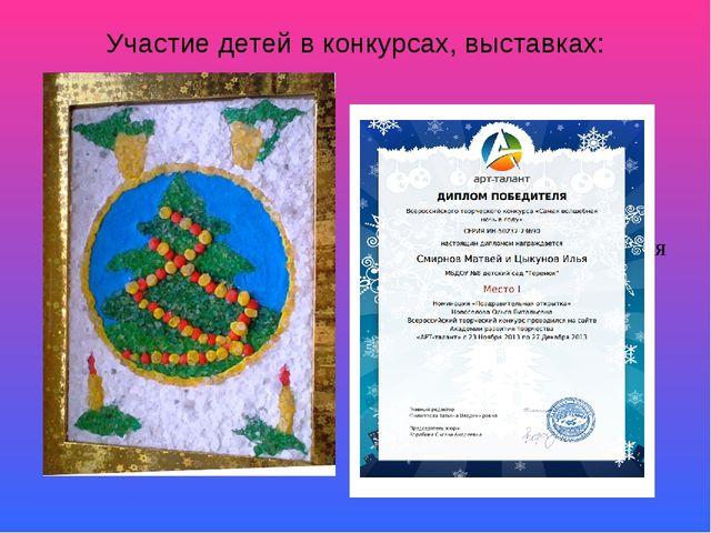 Участие детей в конкурсах, выставках: Победа во всероссийском конкурсе «Арт-т...