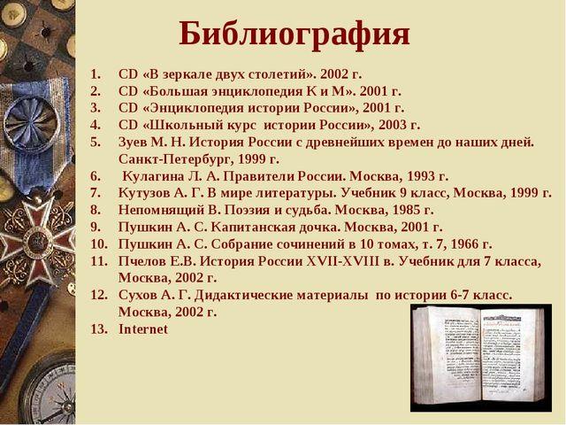 Библиография CD «В зеркале двух столетий». 2002 г. CD «Большая энциклопедия К...