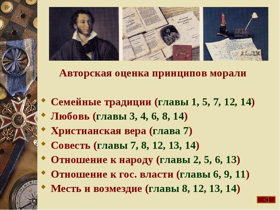 Авторская оценка принципов морали Семейные традиции (главы 1, 5, 7, 12, 14) Л...