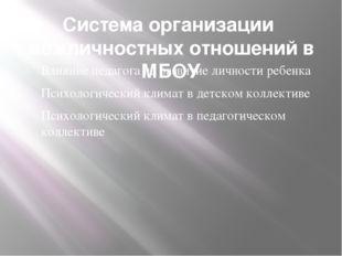 Система организации межличностных отношений в МБОУ Влияние педагога на развит