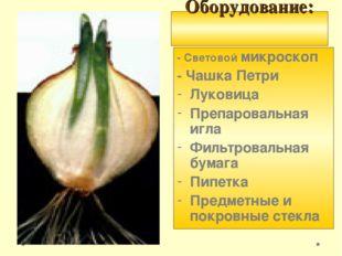 Оборудование: - Световой микроскоп - Чашка Петри Луковица Препаровальная игл