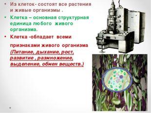 Из клеток- состоят все растения и живые организмы. Клетка – основная структу