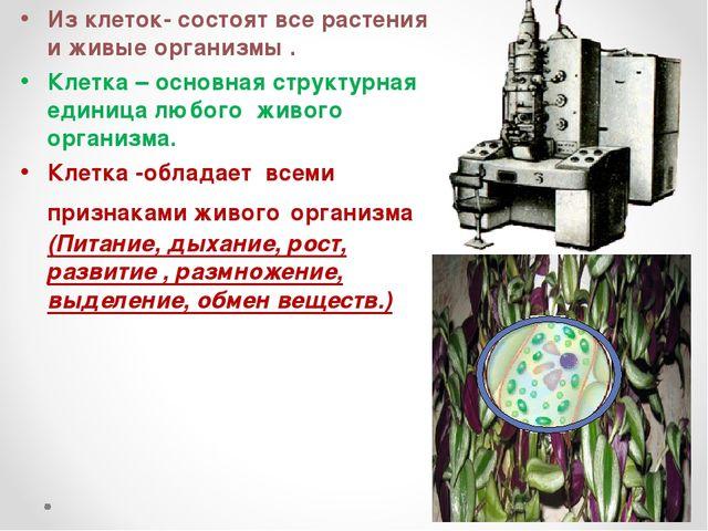Из клеток- состоят все растения и живые организмы. Клетка – основная структу...