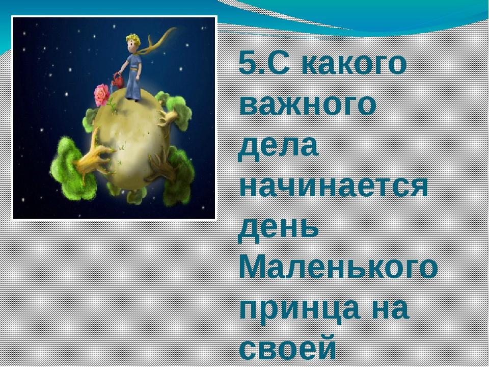 5.С какого важного дела начинается день Маленького принца на своей планете?